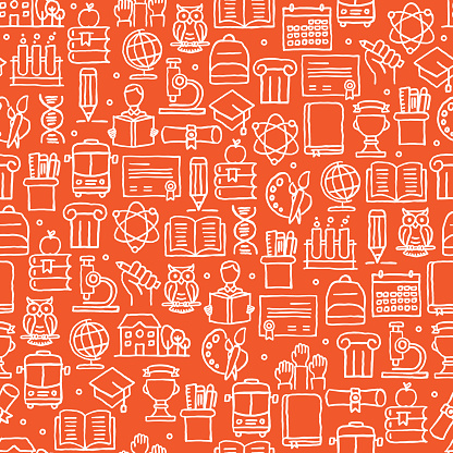 EDUCATION AND SCHOOL RELATED SEAMLESS PATTERN