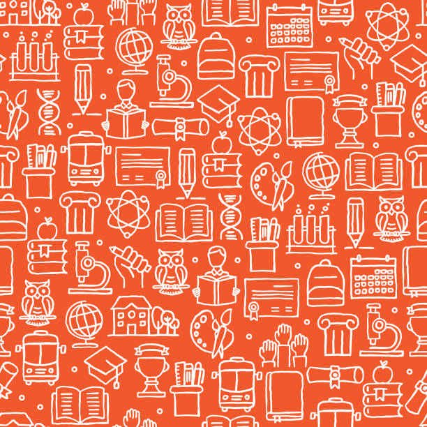 EDUCATION AND SCHOOL RELATED SEAMLESS PATTERN EDUCATION AND SCHOOL RELATED SEAMLESS PATTERN school background stock illustrations