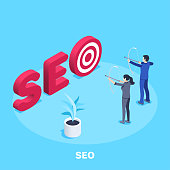 isometric vector image on a blue background, red word SEO with target and archery people