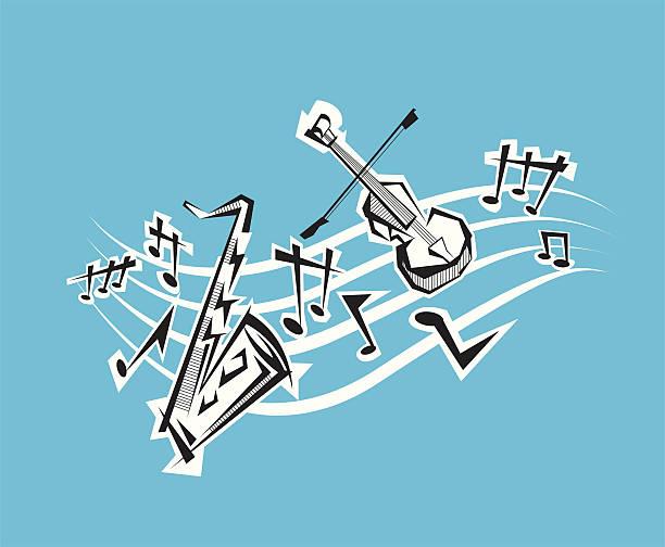 musik-noten und instrumenten - avantgarde stock-grafiken, -clipart, -cartoons und -symbole
