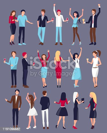 Men and women, dressed in evening dresses and shirts with trousers, set of icons, people with red wine and champagne vector illustration