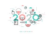 Infographic banner 2020 year of opportunities. New trends and prospects in healthcare, sports, fitness, lifestyle, sport nutrition. Plans and predictions. Vector illustration in thin line style.