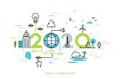 Infographic concept 2020 year of opportunities. New trends and prospects in environmental and eco-friendly technologies, energy saving, ecological recycling. Vector illustration in thin line style.