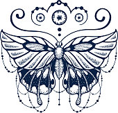 Butterfly delicately woven with calligraphy. Ornate decorated Butterfly is symbol of Diving soul. Fashionable New tattoo design. T-shirt design. Ink jet tattoo