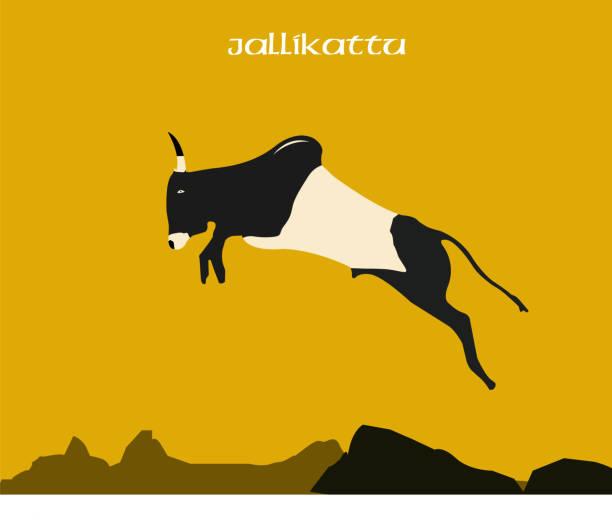 jallikattu sport tamilnadu südindien illustration - madurai stock-grafiken, -clipart, -cartoons und -symbole