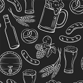 Beer seamless pattern. Black pub layout, engraving beer icons. Vector illustration