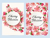Spring invitations with blossom sakura, cherry flowers. Place for text. Great for oriental ivite, flyer, beauty offer, wedding, bridal shower, poster, baby shower, Mother's and Woman's day.