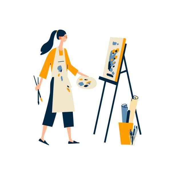 Печать A woman enjoying their hobbies - painting. A pretty girl girl draws a picture. Flat cartoon vector illustration on white background. hobbies stock illustrations