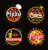 Pizza and pizzeria logos set, collection of badges of pizza and pizzaria Italiano, slices and hat, crown and cook, isolated on vector illustration