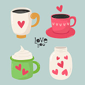 Set of mugs for lovers. Vector illustration for your design.