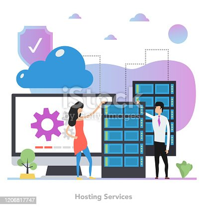Vector concept of hosting services. Man and woman standing near computer with process of synchronization and server datacenter. Illustration with gradient elements