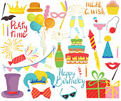 Birthday party accessories, set of isolated party icons, vector illustration. Celebration symbols, colorful stickers with funny hats, carnival mask, birthday cake, party balloons. New year champagne