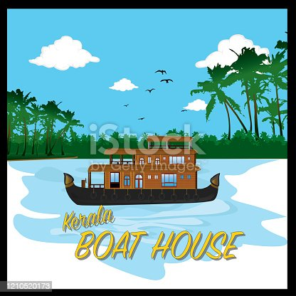 KERALA BOAT HOUSE IN BACKWATER WITH COCONUT TREES - VECTOR