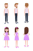 Guy in casual clothes and girl in polka-dot dress. Male and female characters models from all foreshortening isolated cartoon vector illustrations.