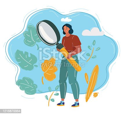Cartoon vector illustration of woman analyst holding big giant magnifier glass. Character conduct research