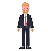 Man in black suit, white shirt and red tie with tedbeard and moustashe vector illustration isolated on white, male character in cartoon style