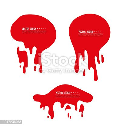 Set of red liquid shapeless frames. Bloody fluid stains with smudges splashes and drops isolated on white background. Vector illustration.