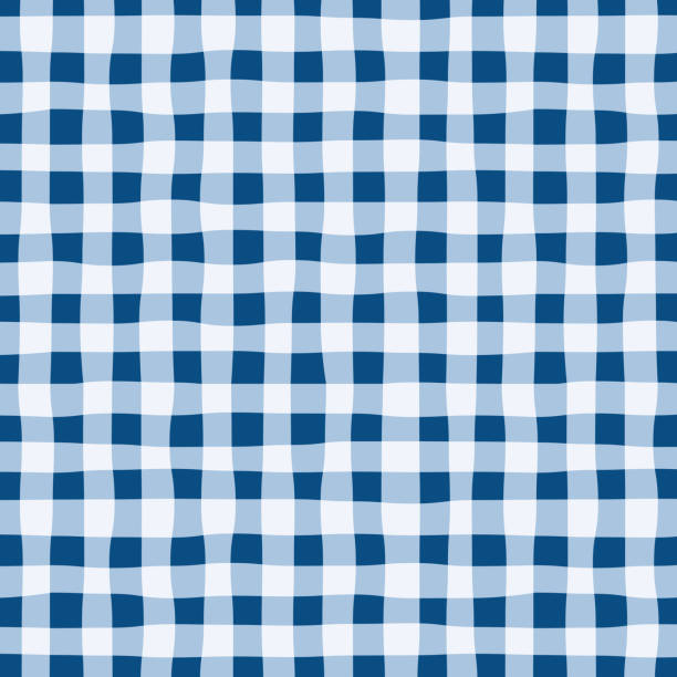 bildbanksillustrationer, clip art samt tecknat material och ikoner med repeat_handdrawn_irregular_uneven_checker_gingham_pattern_classic_blue_background - hui style