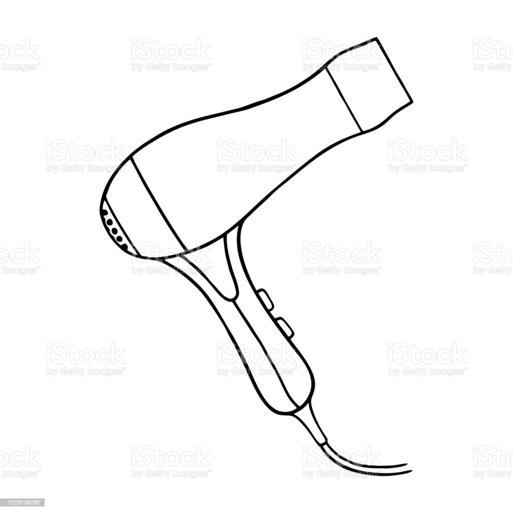 Linear Drawing Of A Hair Dryer For Styling Hair In The Doodle Style Stock Illustration Download Image Now Istock