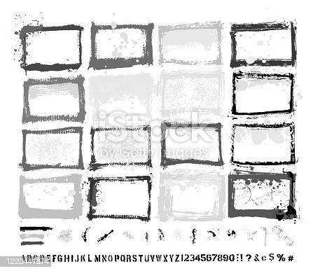 DESIGNER ESSENTIALS: PAINTED GRUNGE BORDER TEMPLATES & SPLASHES & DRIPS & DROPS & HAND-MADE ALPHABET FONT VECTOR SET