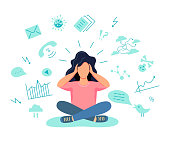 Female gets too much information. Information and data overload concept. Digital information overload. Flat cartoon design styles vector illustration.