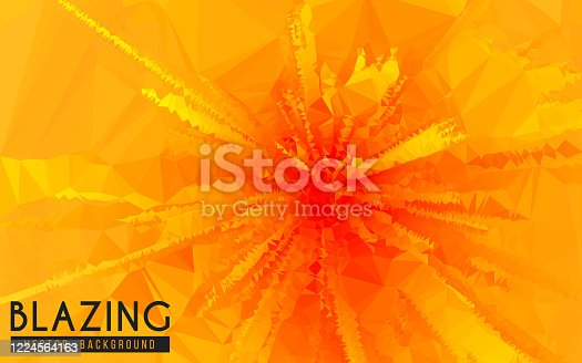 This vector illustration features abstract exploding fiery graphic art backgrounds. It is combination of triangular patterns incorporating bright orange and yellows colors and bursting geometric shapes. The illustration represents the concept of fire, flame, explosion, blast, and various types of fire related concepts. The image has a warm colorful tone. Image includes a standard license along with the option of upgradeable extended license.