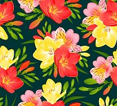 SEAMLESS PATTERN WITH FREESIA AND ALSTROEMERIA FLOWERS ON A DARK BACKGROUND