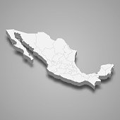 3d map of Mexico with borders of regions