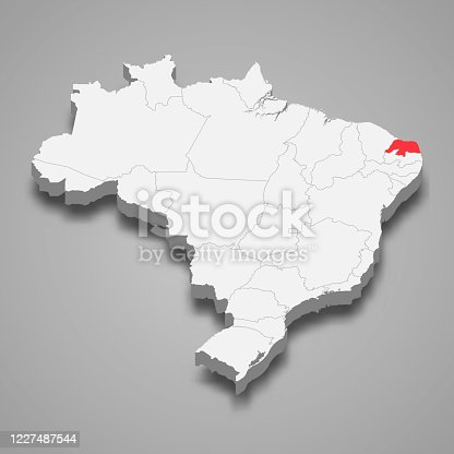 Rio Grande do Norte state location within Brazil 3d map