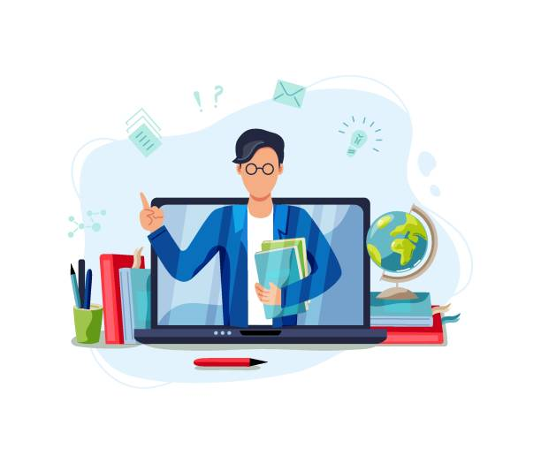 Основные RGB Online education, home schooling concept. Male teacher on laptop screen. Vector illustration isolated on white background. Flat cartoon style design. showing stock illustrations