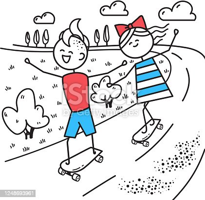 Happy guy and girl skateboarding. Fun trip. Valentines Day illustration for Valentines Day card or t-shirt. Couple in love. Simple characters.
