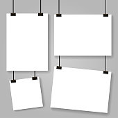 Blank white poster template. affiche, paper sheet hanging on wall. mockup. Vector illustration