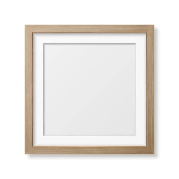 1189 Vector 3d Realistic Square Brown Wooden Simple Modern Frame Icon Closeup Isolated on White Wall Background with Window Light. It can be used for presentations. Design Template for Mockup, Front View frame border stock illustrations