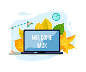 Laptop with fallen leaves. Welcome back. E-learning concept. Flat cartoon style design. Place for text on computer monitor. Vector illustration.