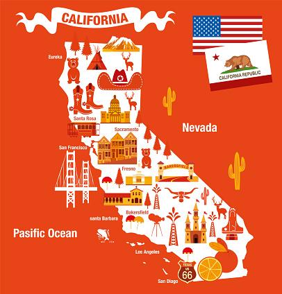CALIFORNIA CARTOON MAP
