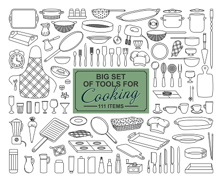 A BIG COLLECTION OF FOOD PREPARATION ITEMS ON A WHITE BACKGROUND