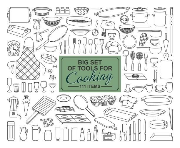 bildbanksillustrationer, clip art samt tecknat material och ikoner med en stor samling av matberedning objekt på en vit bakgrund - bakplåt