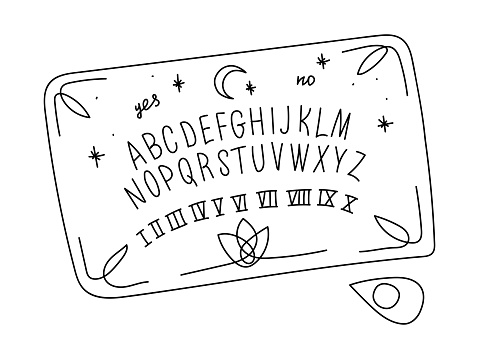 A PAINTED OUIJA BOARD ISOLATED ON A WHITE BACKGROUND