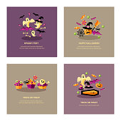Halloween cards set with celebratory subjects. Flat style vector illustration. Great for party invitation, flyer, greeting card, web, poster.
