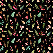 Seamless pattern Christmas print. Floral elements flowers, branches, pine, berries , leaves on a black background. Vector