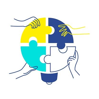Human hands putting puzzle pieces together. Idea concept. Vector illustration.