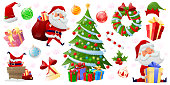 Set of cartoon beatuful Christmas elements and decor. Christmas holiday decoration icons with santa, Christmas tree, presents, elf's hat, ball. Colorful christmas characters and decorations. Vector illustration