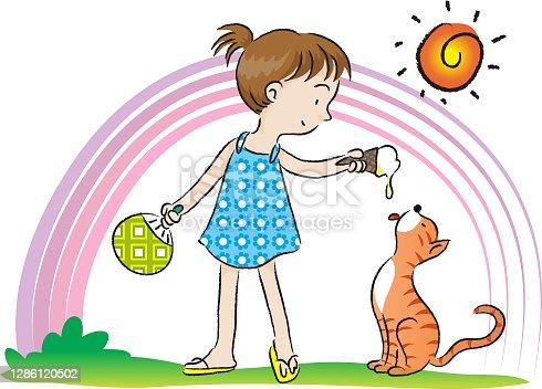 istock SUMMER GIRL AND CAT EAT ICE CREAM 1286120502