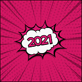 Colorful Comic Zoom New Year 2021- Vector