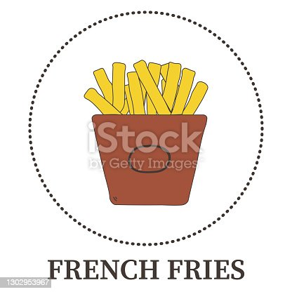 Abstract French fries on white background - Vector illustration