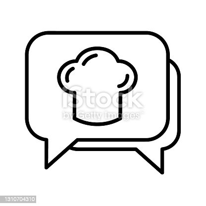 Food talk flat icon. Pictogram for web. Line stroke. Isolated on white background. Vector eps10. Chating for cooking