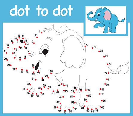 DOT TO DOT ELEPHANT CHILD GAME