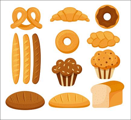 SET OF BAKERY PRODUCTS. PASTRY BAKING, CROISSANT. BREAD, BATON, PELETENKA, CUPCAKE, CARTOON STYLE