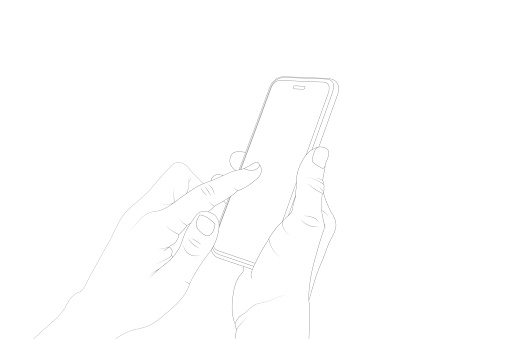 WHEN TOUCHING THE PHONE SCREEN, ACTIVATE, TOUCH, VECTOR STOCK