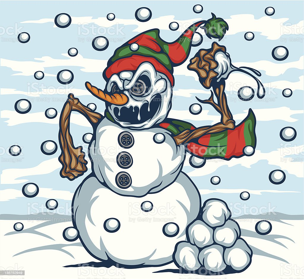 EVIL SNOWMAN royalty-free evil snowman stock vector art & more images of aggression